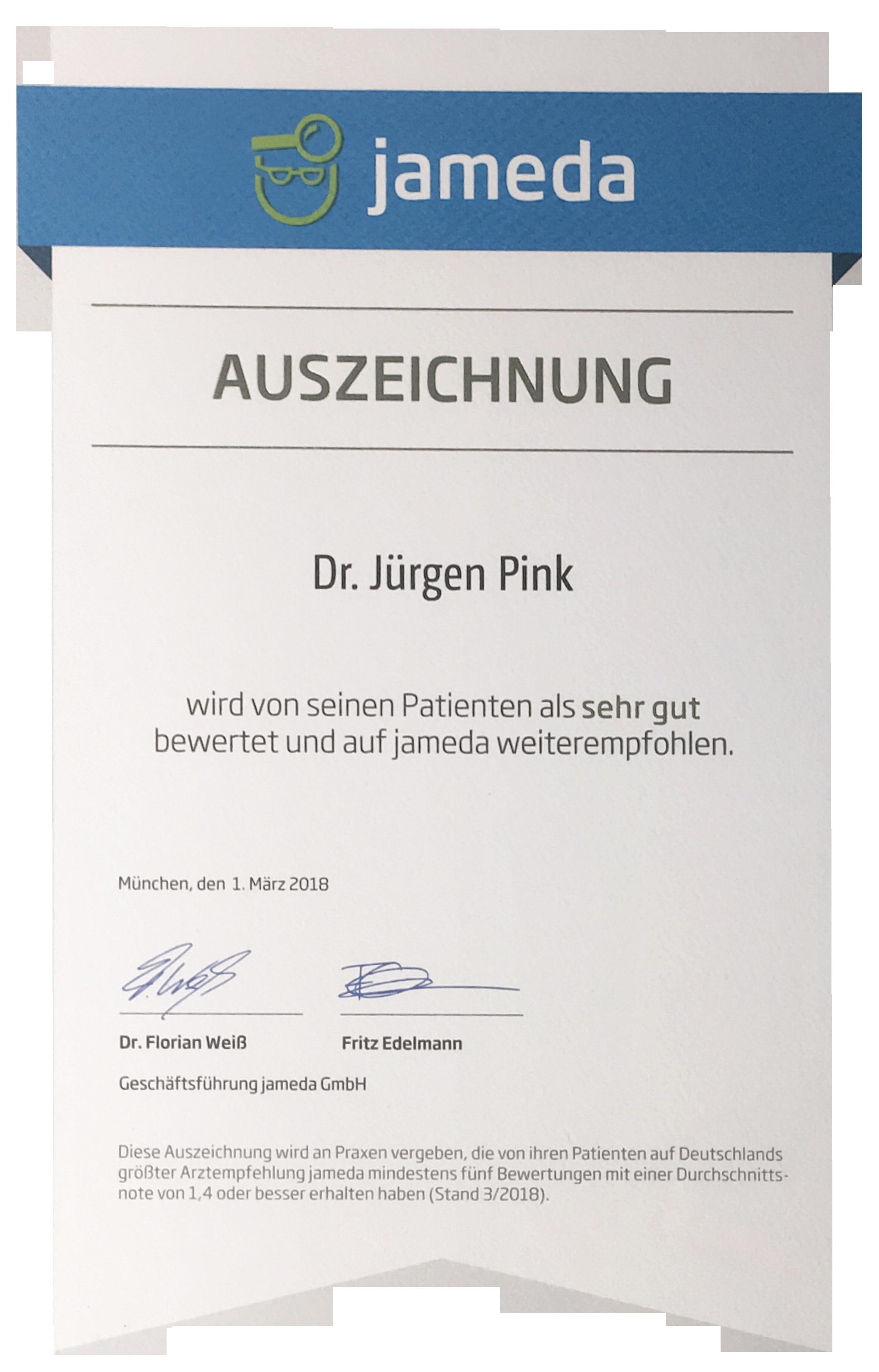 Jameda Auszeichung Dr. Pink